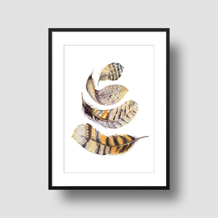 Watercolour feathers 8x10 or A4 print - 3 to choose from -  Feather Print, Illustration Print, Wall Print