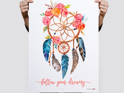 Watercolour Bohemian Prints - 3 to choose from 8x10 or A4 print  buy 2 get 3rd free -  Dream Catcher Print, Arrow Print, Floral Skull Print, Illustration Print, Wall Print