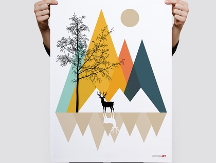 The Summit Trail Minimal Geometric Print - Wall Print 8x10 or A4 Print