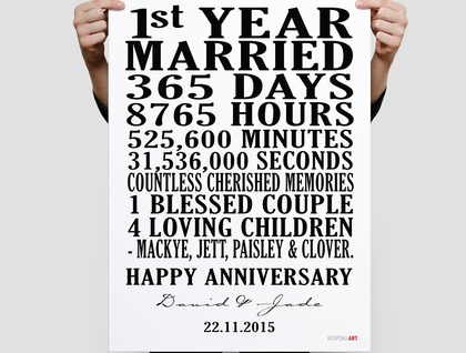 Customised Wedding Anniversary - Print 11x14 or A3