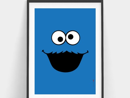 Minimal Cookie Monster Print - Wall Print 8x10 or A4
