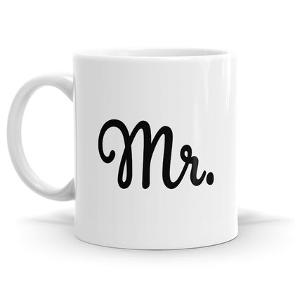 Mr & Mrs Mug Set - 2 x 11oz Coffee or Tea Mugs