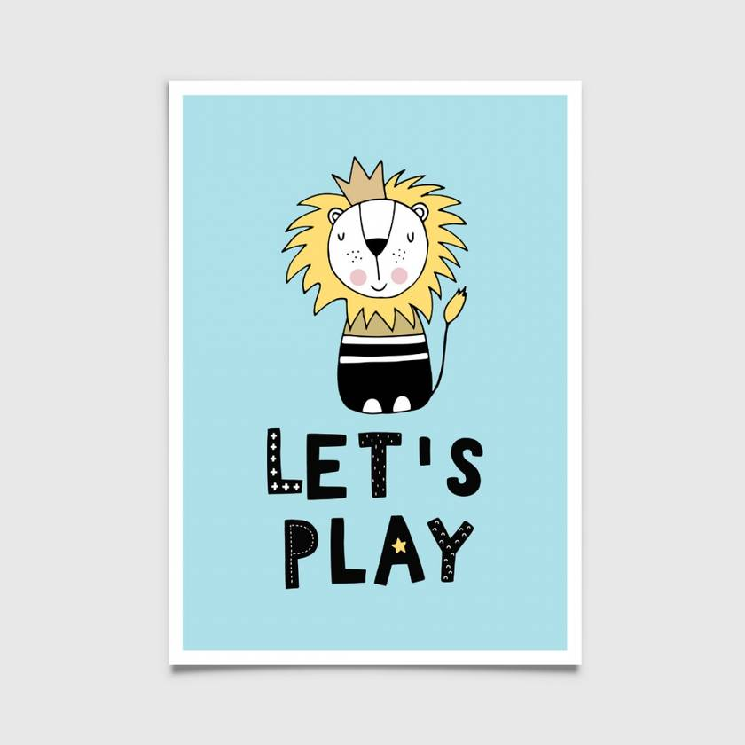 Let's Play Lion 8x10 or A4 print Scandinavian, Nordic