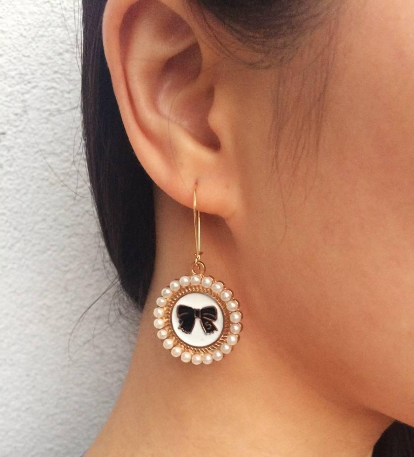 bow & pearl earrings- SALE