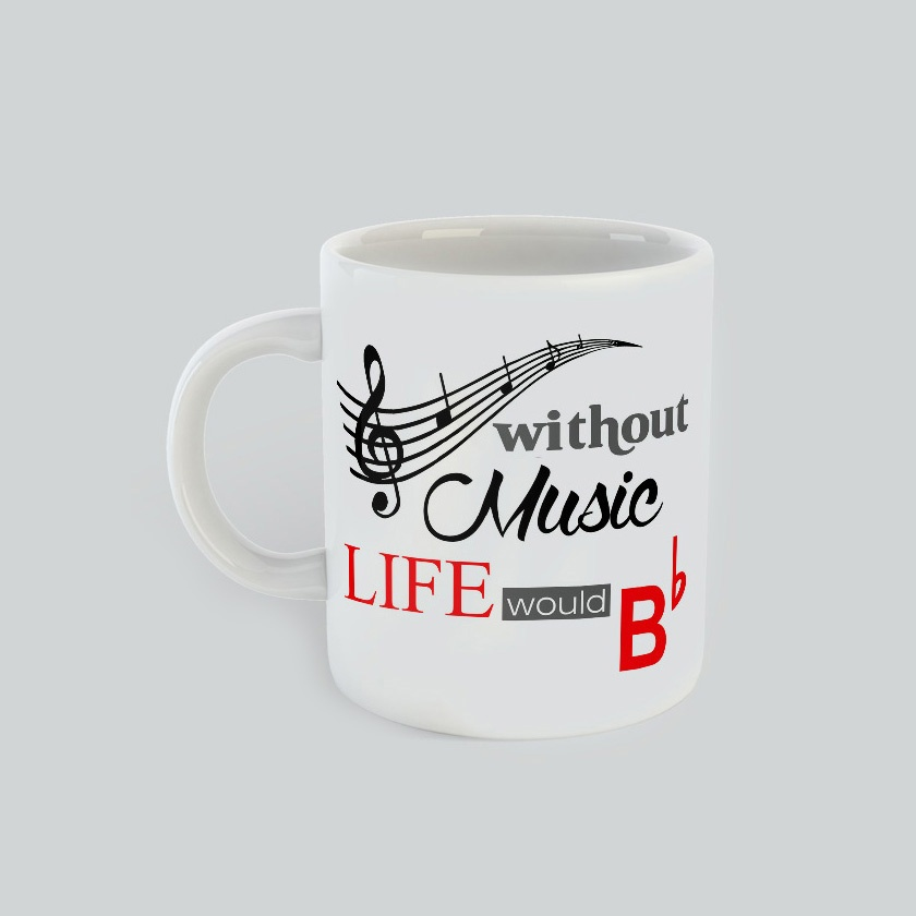 Without Music Life would B flat Mug. Fun Gift for all music lovers