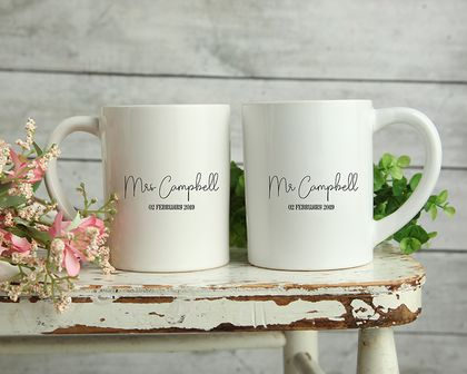 Custom Personalised Matching Wedding Mugs-Campbell Design
