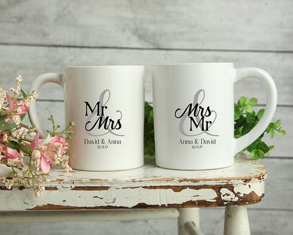 Custom Personalised Matching Wedding Mugs-Anna Design