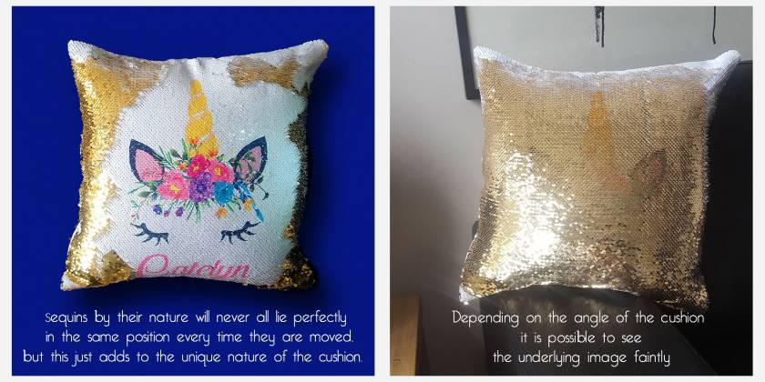 Unicorn Reversible Sequin Cushion-Personalised custom