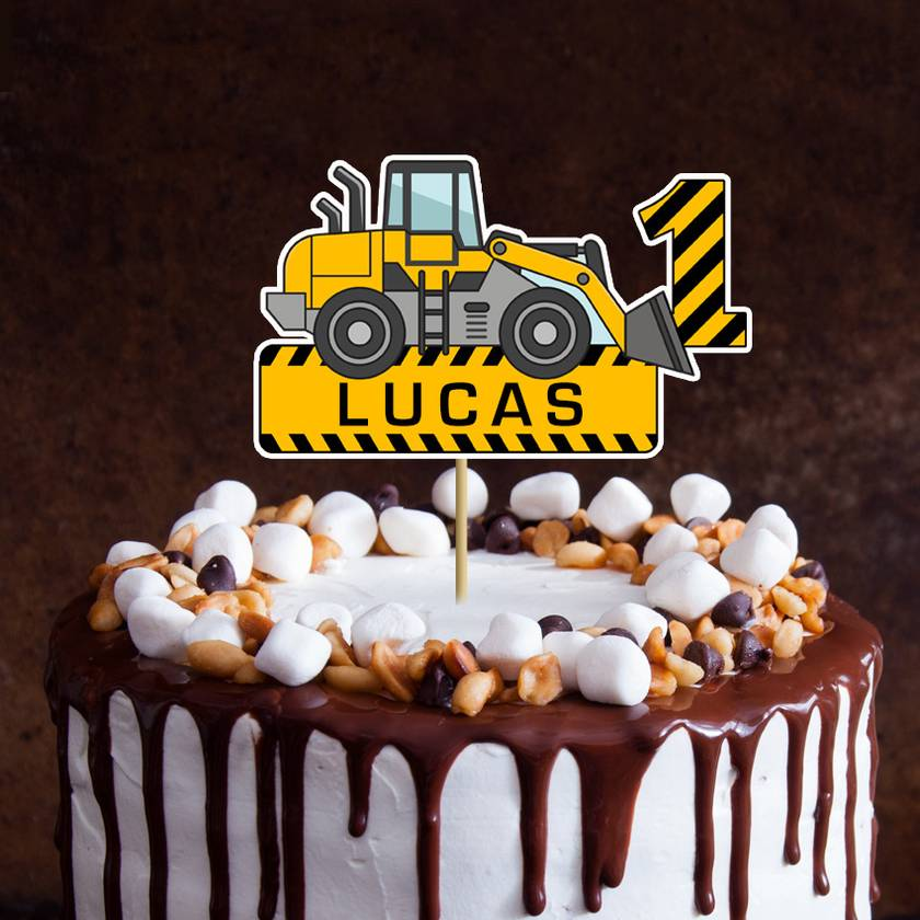 Digger Personalised Birthday Cake Topper