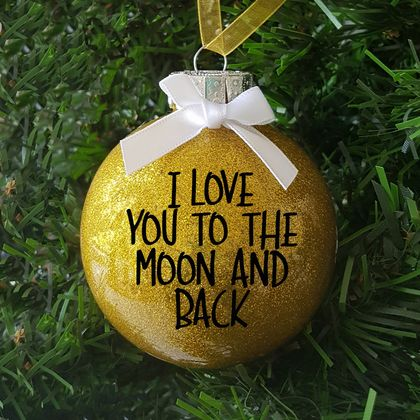I Love You to The Moon Glitter Christmas Ornament