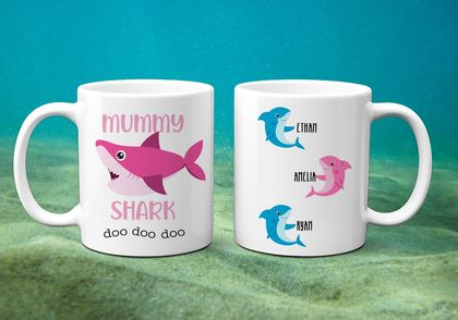 Mummy Shark  -  Personalised  Mother's Day  Mug