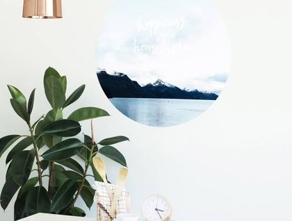 Happiness is homemade vinyl wall dot with photography and typography by Chloe Larkin size 58cmx58cm