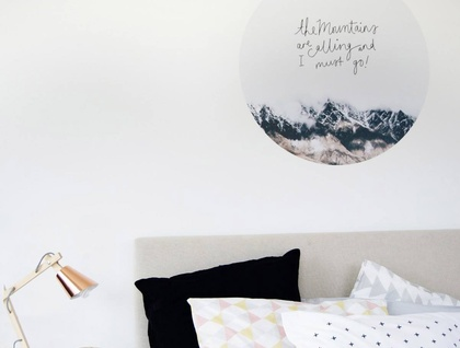 Mountains are calling Queenstown vinyl wall dot with photography size 58cmx58cm