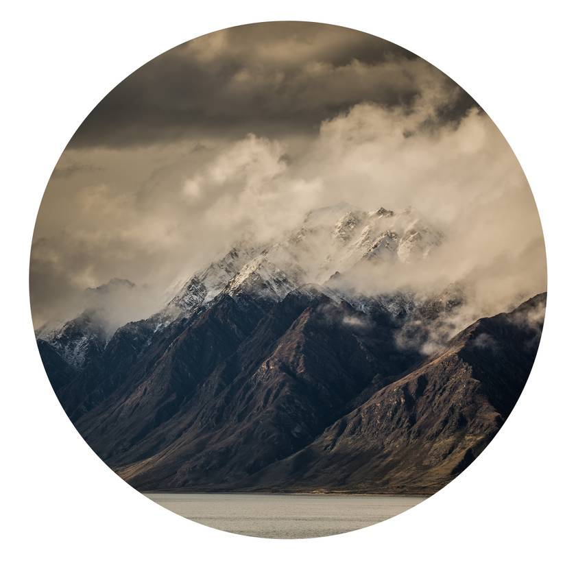 Corner Peak, Lake Hawea, Wanaka vinyl wall dot with photography by Simon Larkin size 58cmx58cm