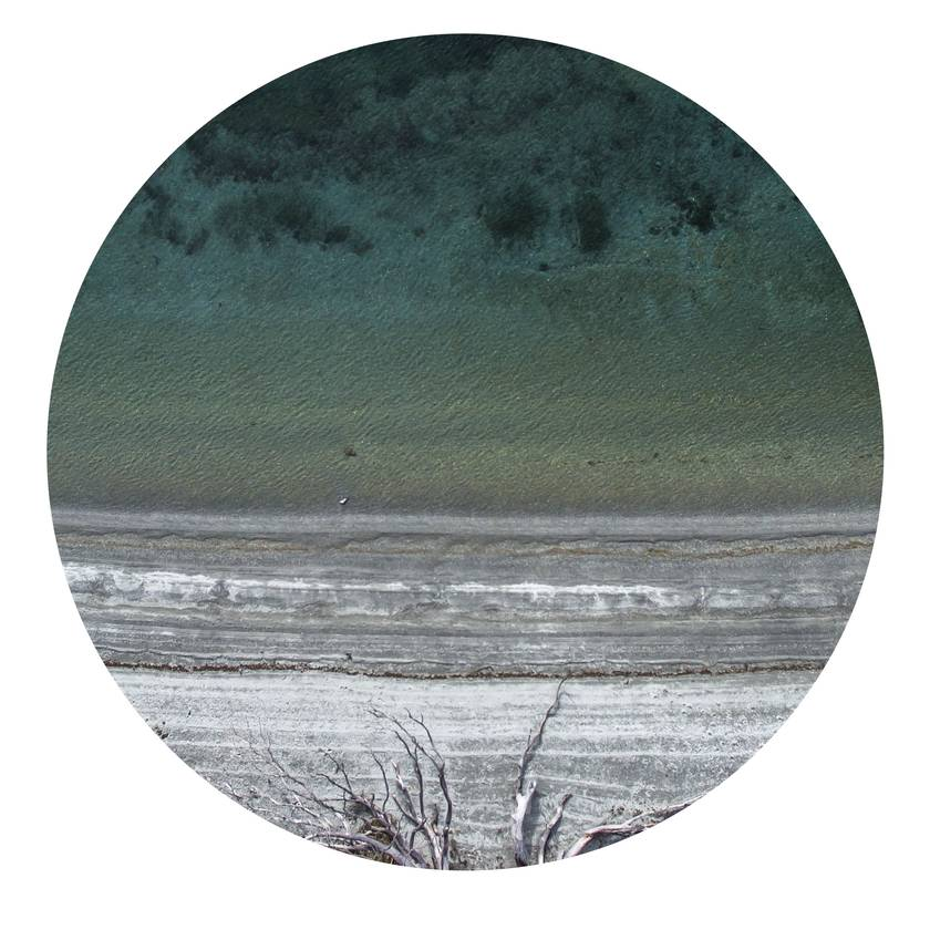 Aerial Lake Wanaka vinyl wall dot with photography by Ollie Larkin size 58cmx58cm