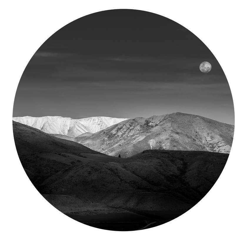 St Bathans, Central Otago moon vinyl wall dot photography by Simon Larkin size 58cmx58cm