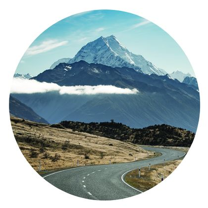 Road to Mount Cook vinyl wall dot photography by Simon Larkin size 58cmx58cm