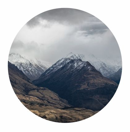 Snow capped mountains Wanaka vinyl wall dot size 18cmx18cm