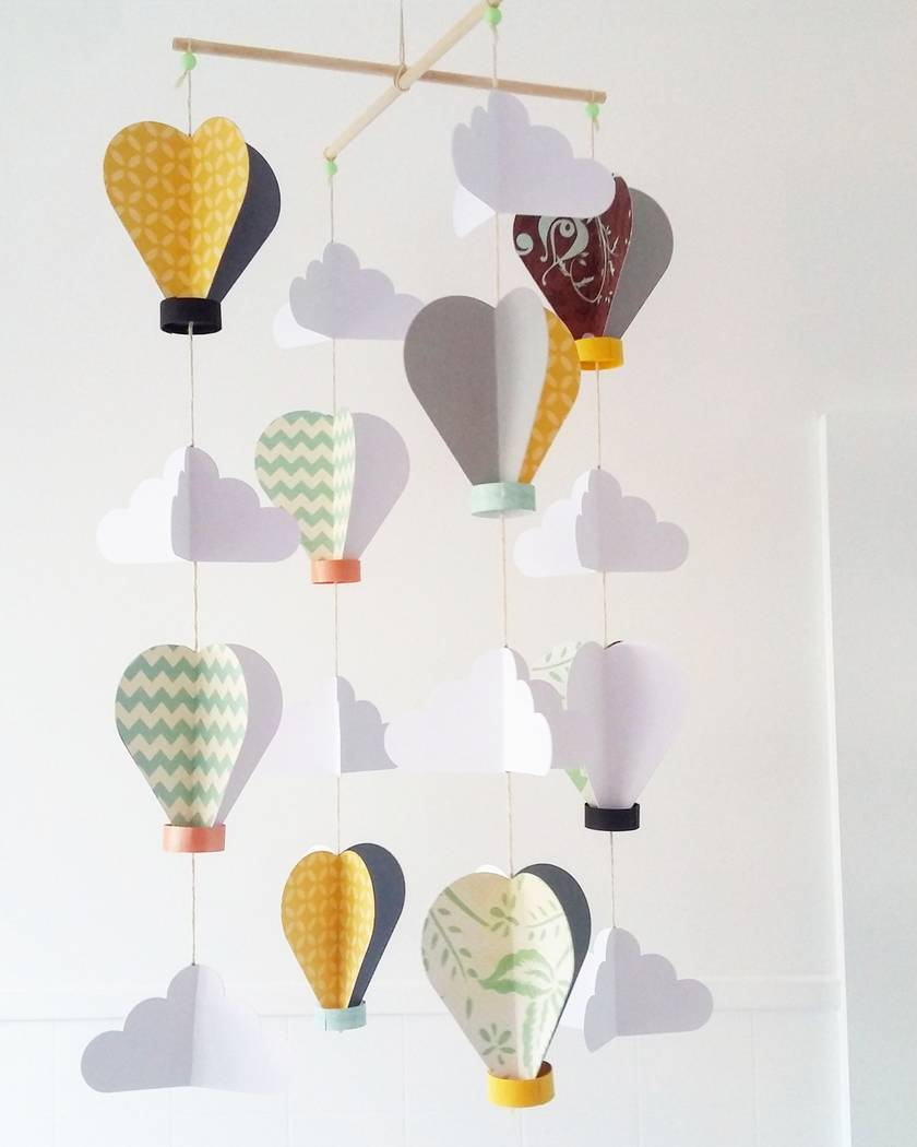 Hot air balloons and clouds baby mobile made to order