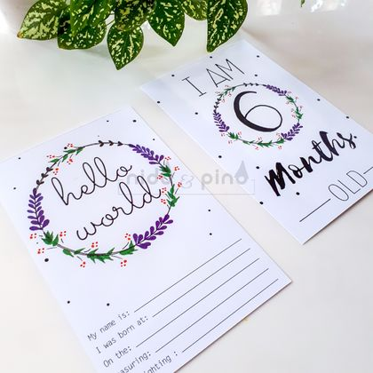 Milestone Cards  - lavender wreath