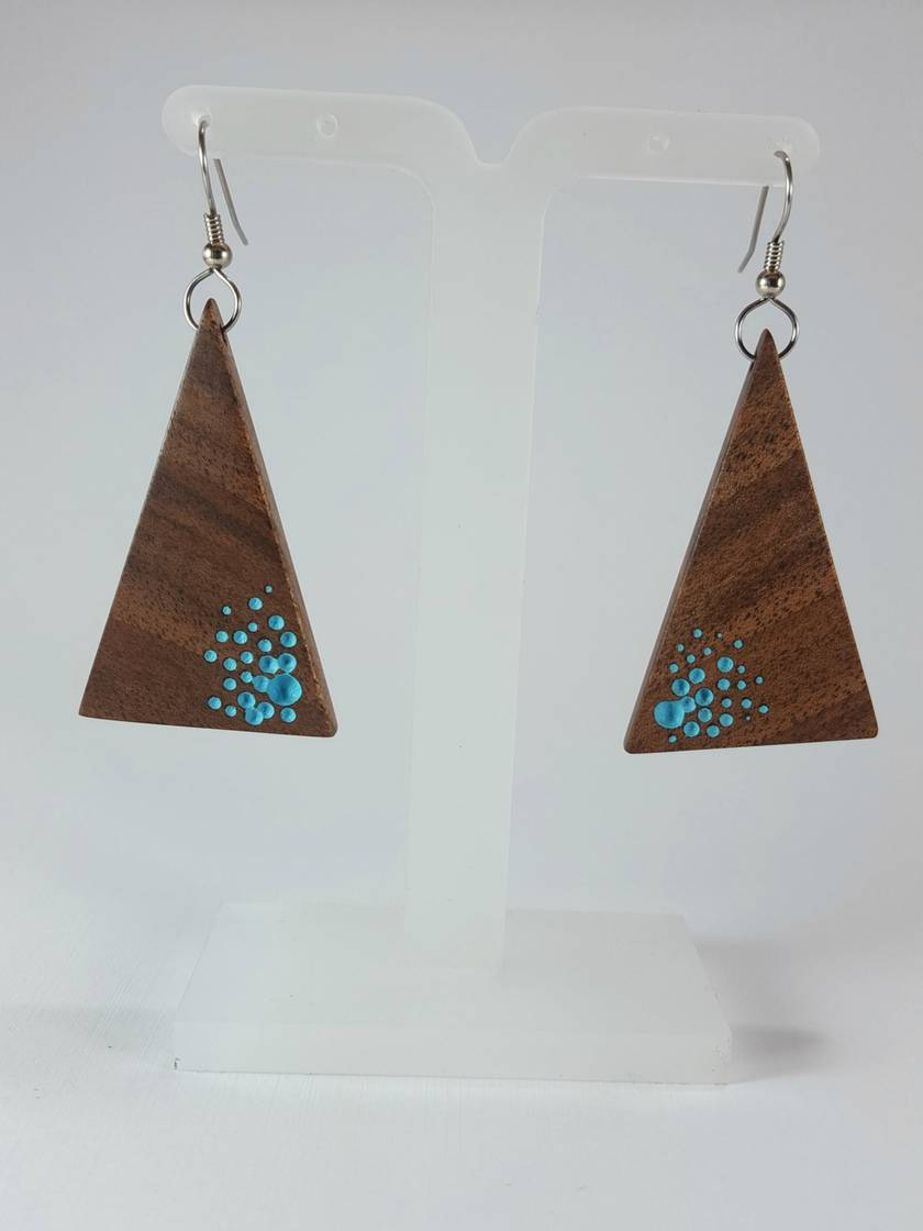 Triangle Drop Earrings - with random blue dots
