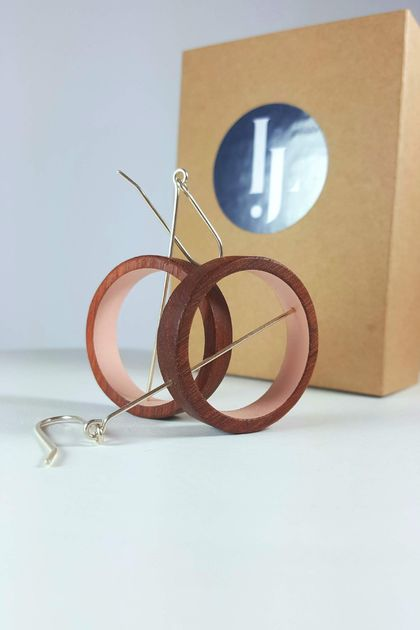 wooden Pink Loop earrings
