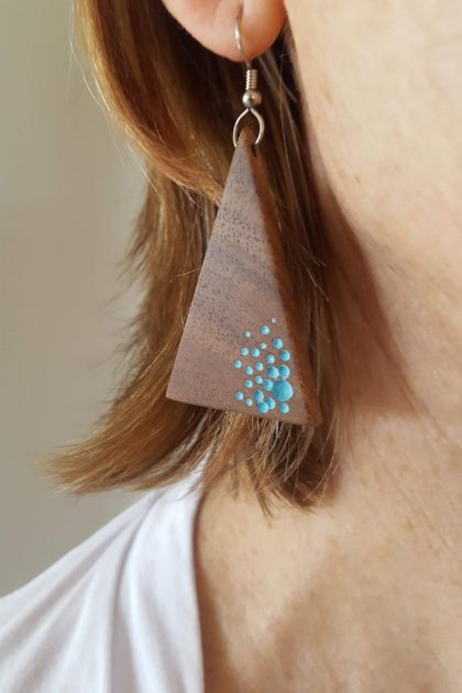 Triangle Drop Earrings - with random blue dots