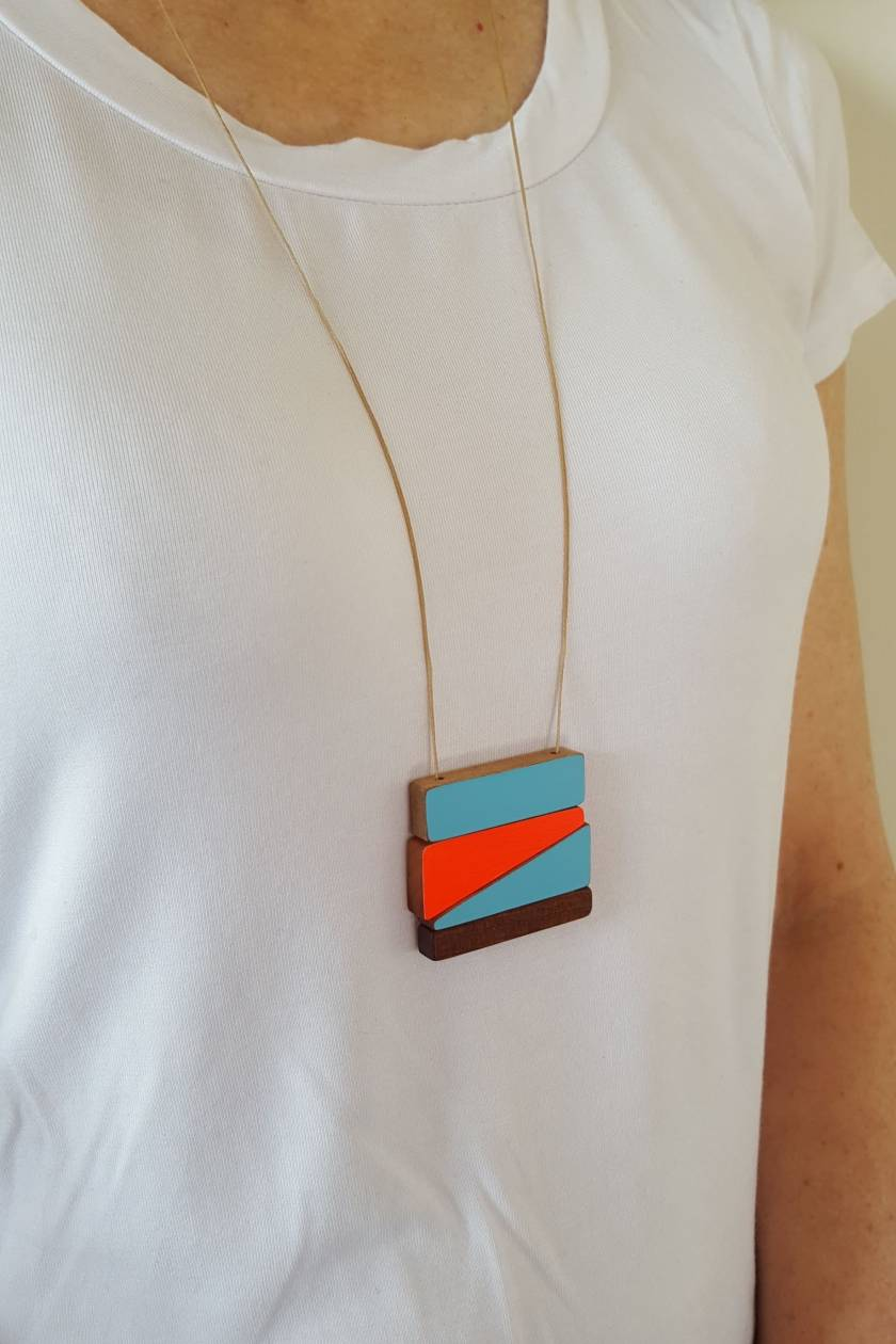 Wooden Necklace, Reversible Super bright or a natural wood necklace