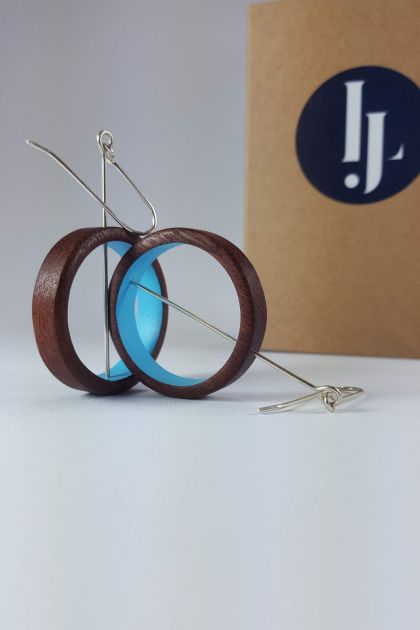 Wooden Blue Loop earrings
