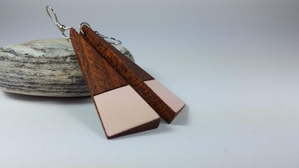 Long pink earrings - Recycled wooden earrings