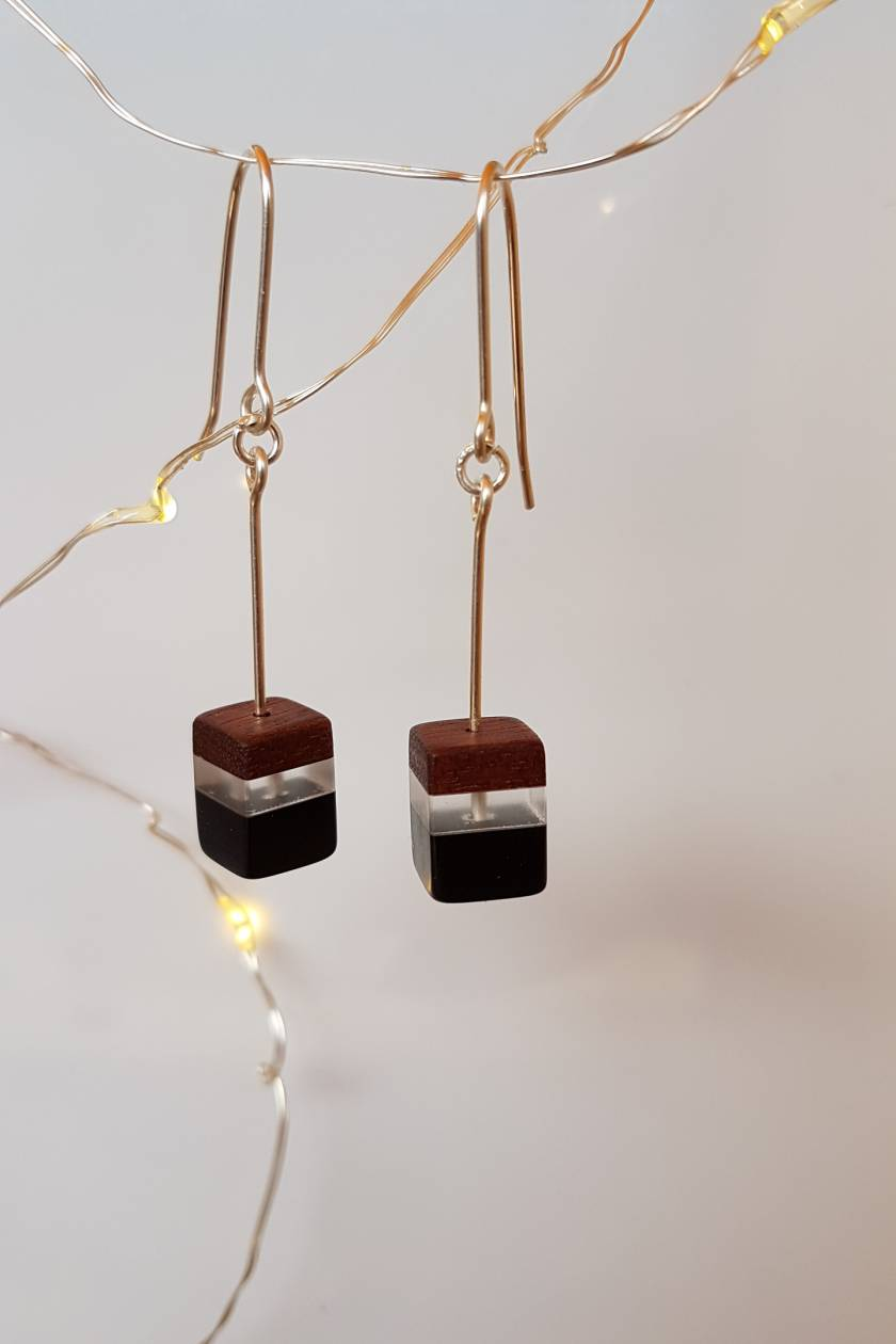 wooden perspex earrings