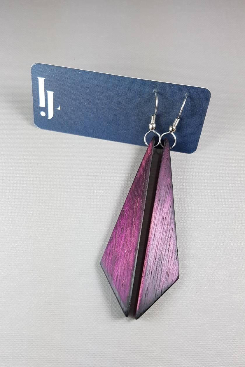 Wooden earrings - recycled wood - purple heart