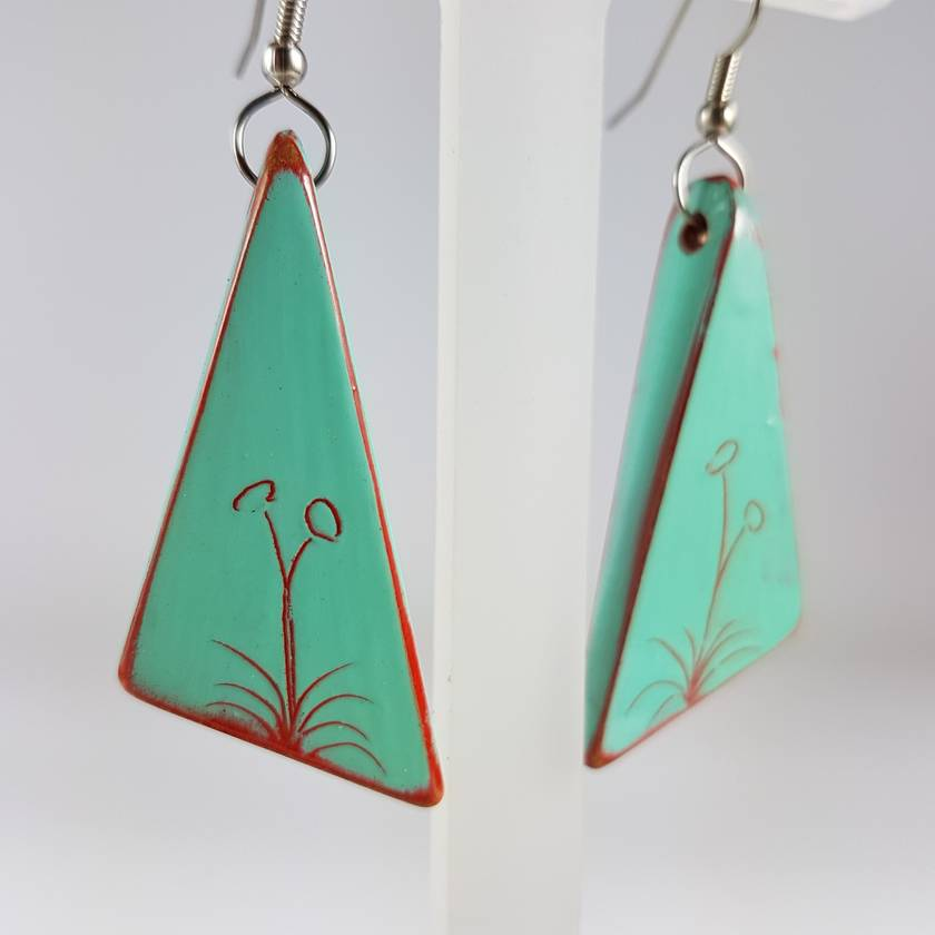 Hand painted Amalfi Blue wooden drop earrings