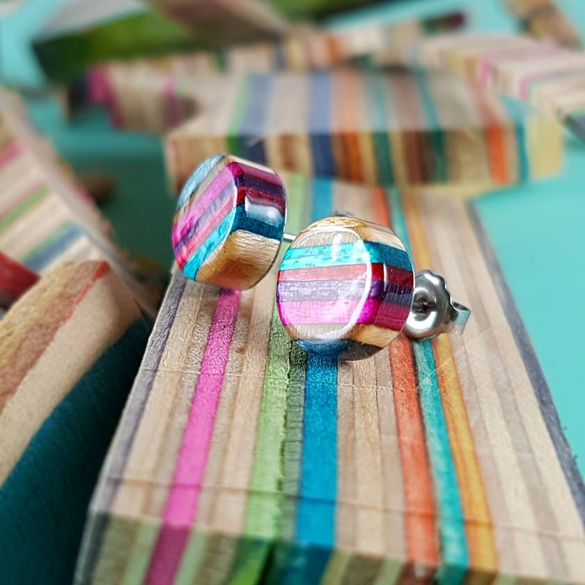 skateboard earring studs