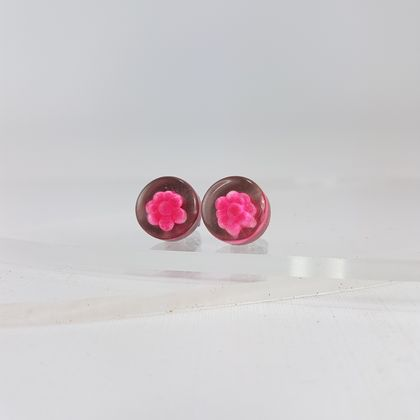 Pink Recycled perspex earrings, super bright!
