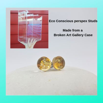 Eco-conscious Gold earring studs, made from recycled perspex