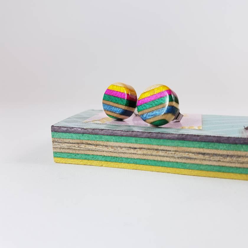Recycled wooden earring studs (skateboard)