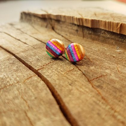 Recycled wooden earring studs (skateboard)