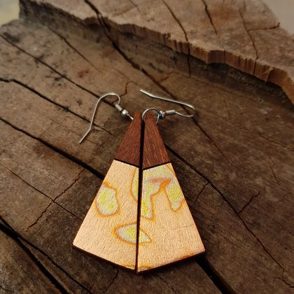 Wooden drop earrings with variegated gold foil
