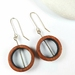 Recycled Wooden Loop earrings with sterling silver