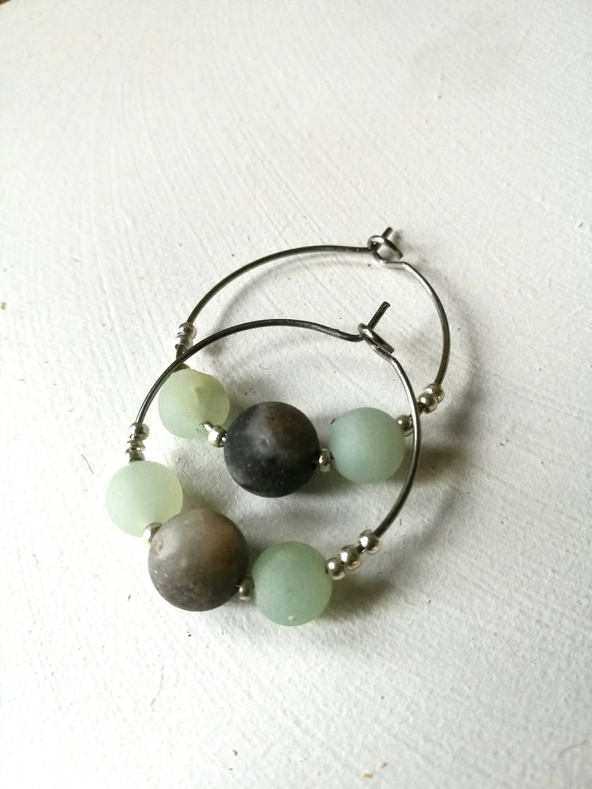 Amazonite loop earrings