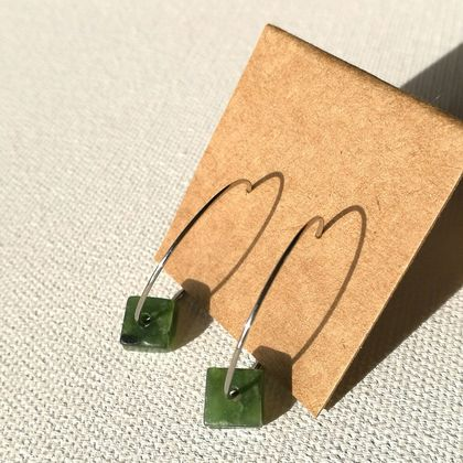 NZ JADE loop earrings, SMALL