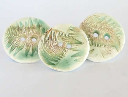 Three handmade ceramic buttons, fern design
