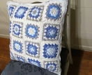Blue and White Crochet and Quilted Toille Cushion