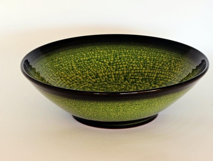 Green Salad Bowl with Black Rim