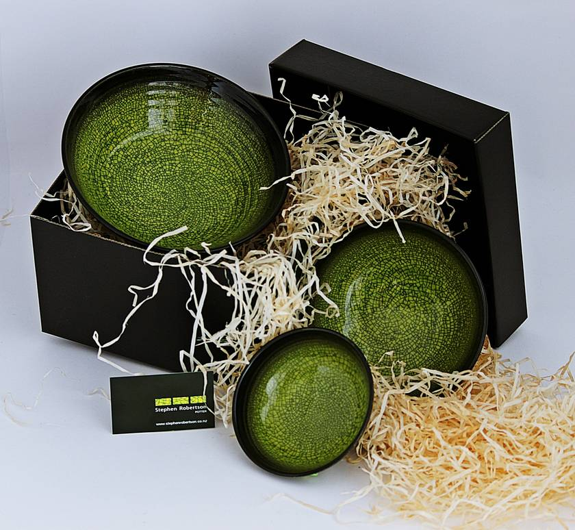 Boxed Nest of Bowls Green Craze Glaze