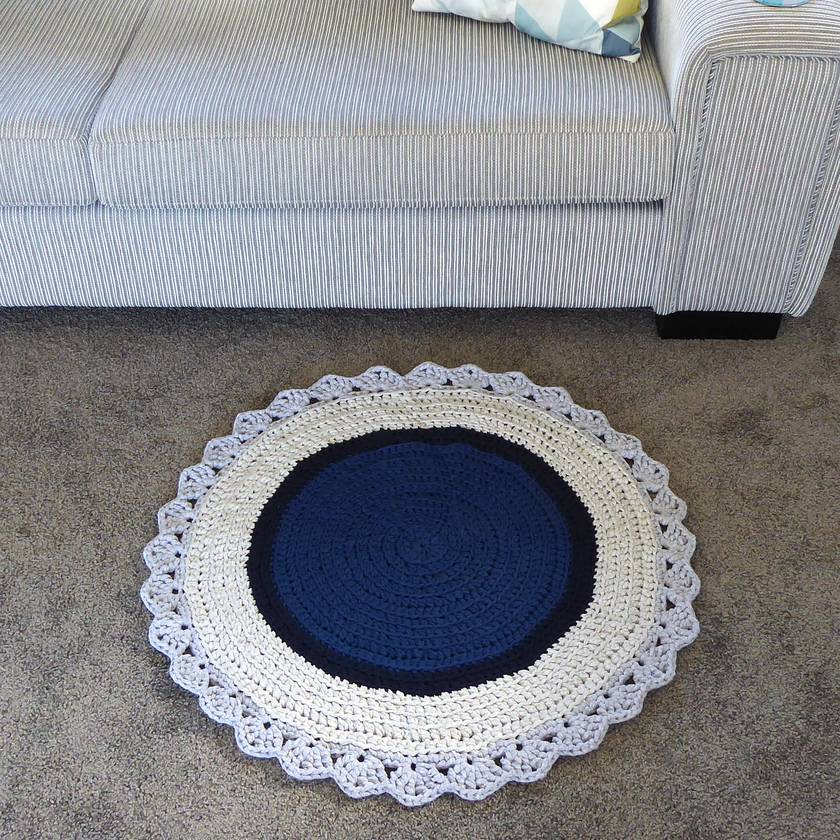 ECO Round Rug (blue + grey)