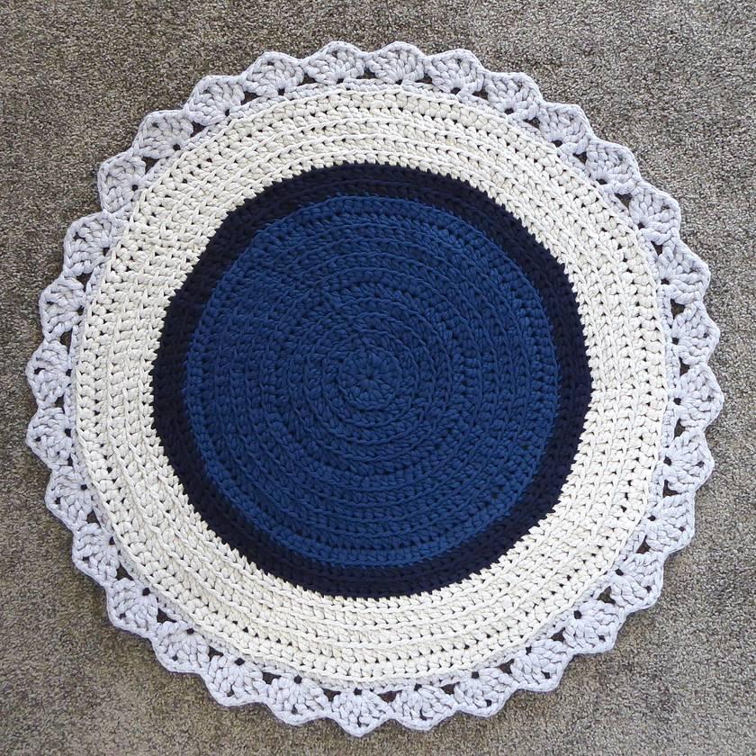Round Floor Rug (blue + grey)