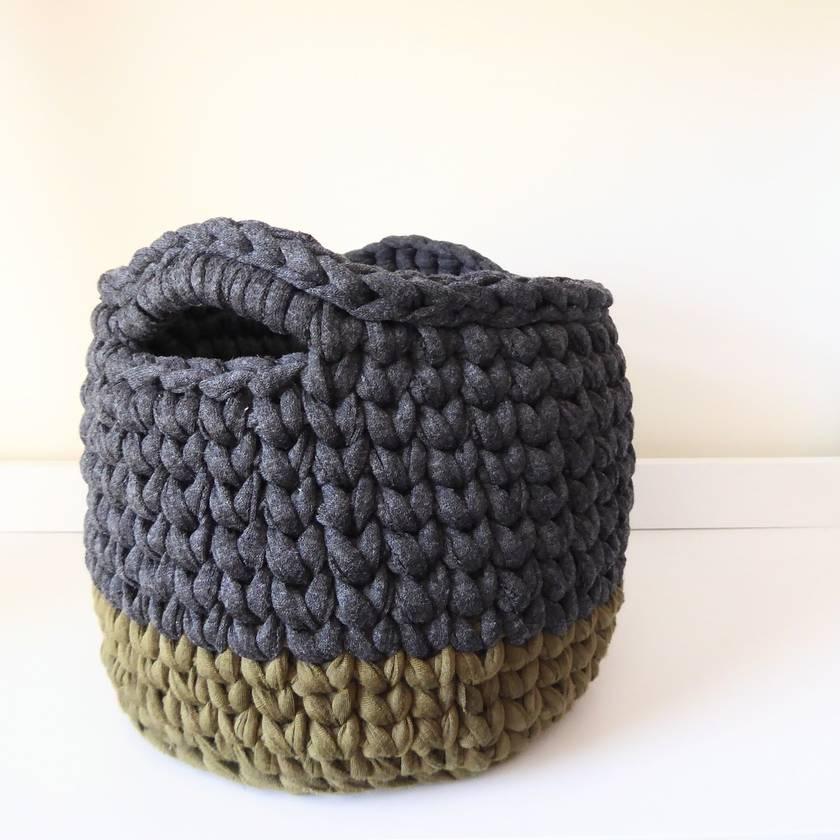 Large storage basket (charcoal + olive green)