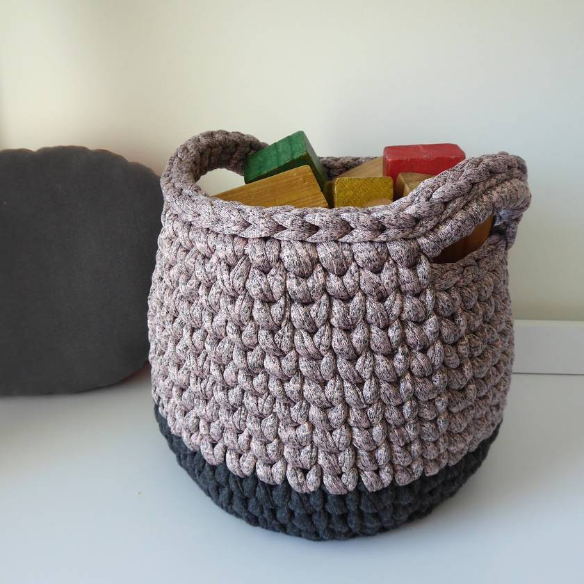 ECO Large storage basket (pearly pink + grey)
